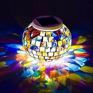 Avril Tian, lampada solare da tavolo ricaricabile, ideale per esterni e interni, a forma di sfera, con decorazione a mosai...