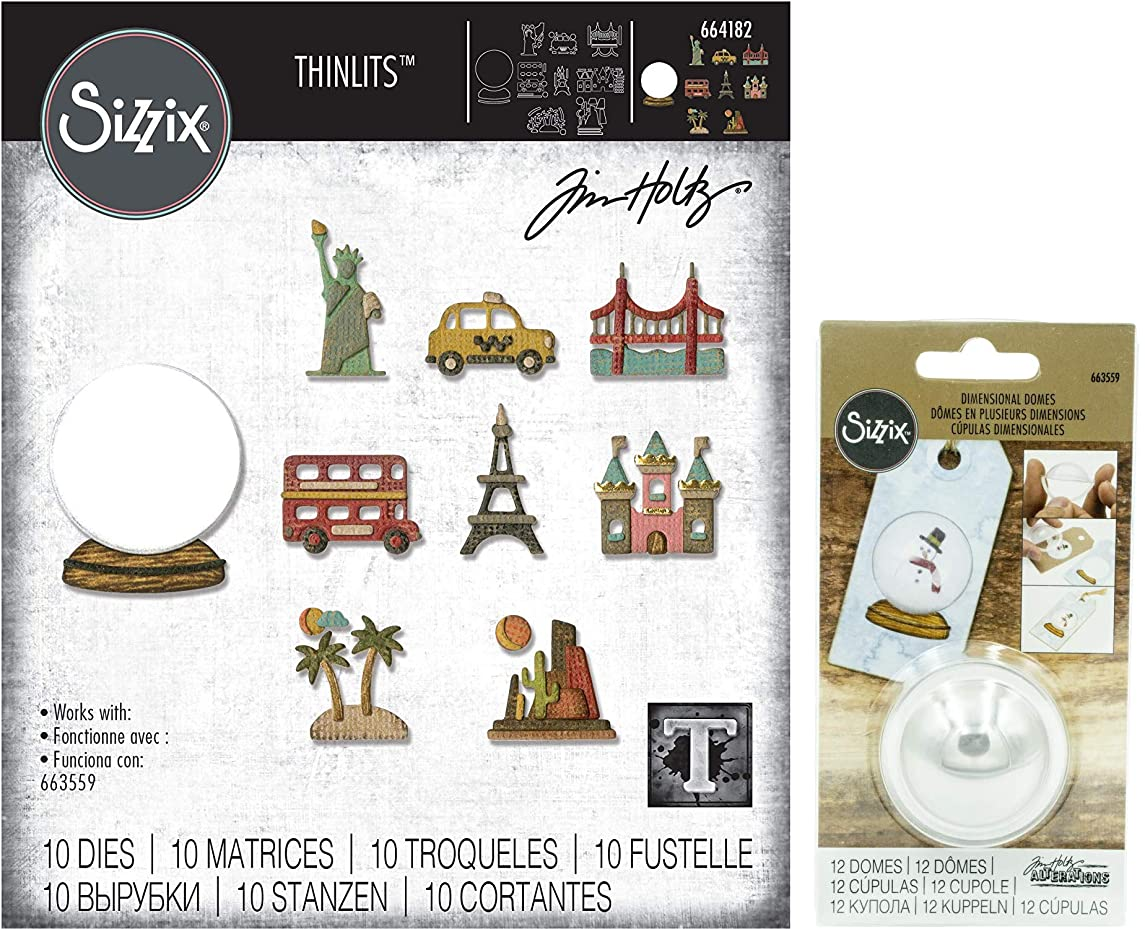 Tim Holtz Sizzix - Tiny Travel Globe Thinlits and Plastic Dimensional Domes - 2 Items