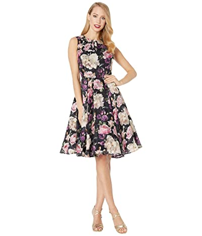 Unique Vintage 1940s Floral Olson Swing Dress (Black Floral) Women