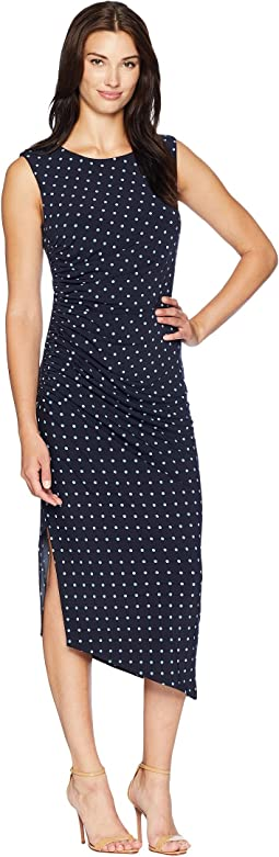 Cap Sleeve Romantic Dots Side Ruched Dress