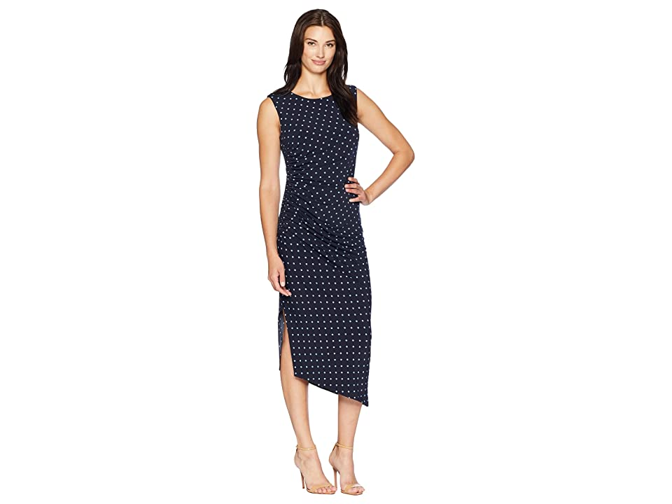 Vince Camuto Cap Sleeve Romantic Dots Side Ruched Dress (Classic Navy) Women