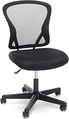 OFM ESS Collection Swivel Mesh Back Armless Task Chair, Mid Back, in Black (ESS-3010)