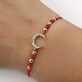 CZ Crescent Moon Red Thread Adjustable Fashion Bracelet for Women