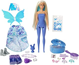 Barbie Color Reveal Peel Fairy Fashion Reveal Doll Set with 25 Surprises Including Blue Peel-able Doll & Pet & 16 Mystery ...