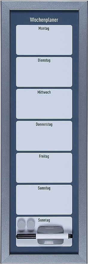 silber//schwarze Schreibfl/äche 61148 Wochenplaner Magnettafel 60x40cm silberner Rahmen