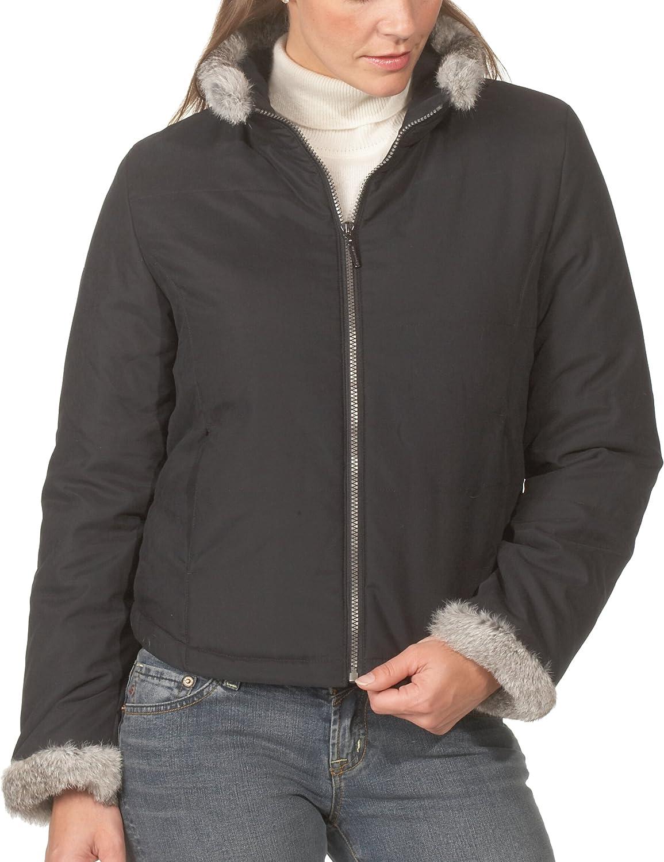 Weatherproof Ladies Nanofiber Quilted Jacket with Rabbit Fur Trim