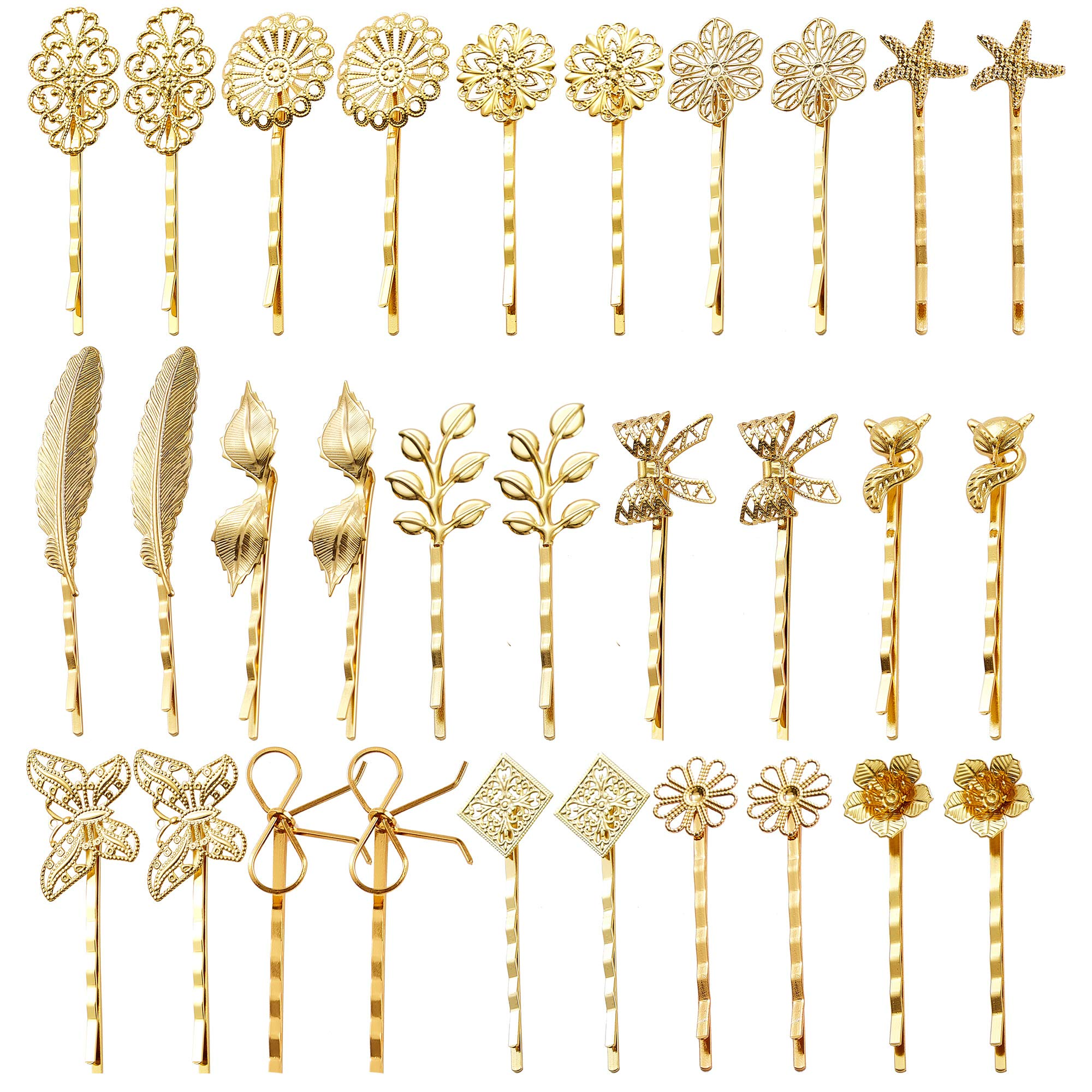 inSowni 30 Pack/15 Pairs Gold Retro Vintage Metal Bobby Pins Hair Clips Barrettes Accessories Leaf Bow Flower Butterfly for Women Girls