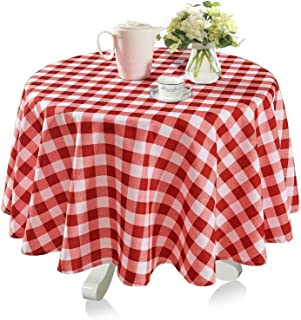 YEMYHOM 100% Polyester Spillproof Tablecloths for Round Tables 60 Inch Indoor Outdoor Camping Picnic Circle Table Cloth (Red and White Checkered)