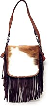 Handcrafted Genuine Leather Western Cowhide Womens Fringe Clutch Crossbody Bag in 3 Colors