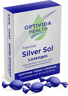 Optivida Health — Nano-Silver Sol Lozenges 60PPM — Fast-Acting Cough Drops with Lemon Oil, Organic Honey and Organic Peppe...