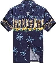 Made in Hawaii Men's Hawaiian Shirt Aloha Shirt Tiki Cross Navy