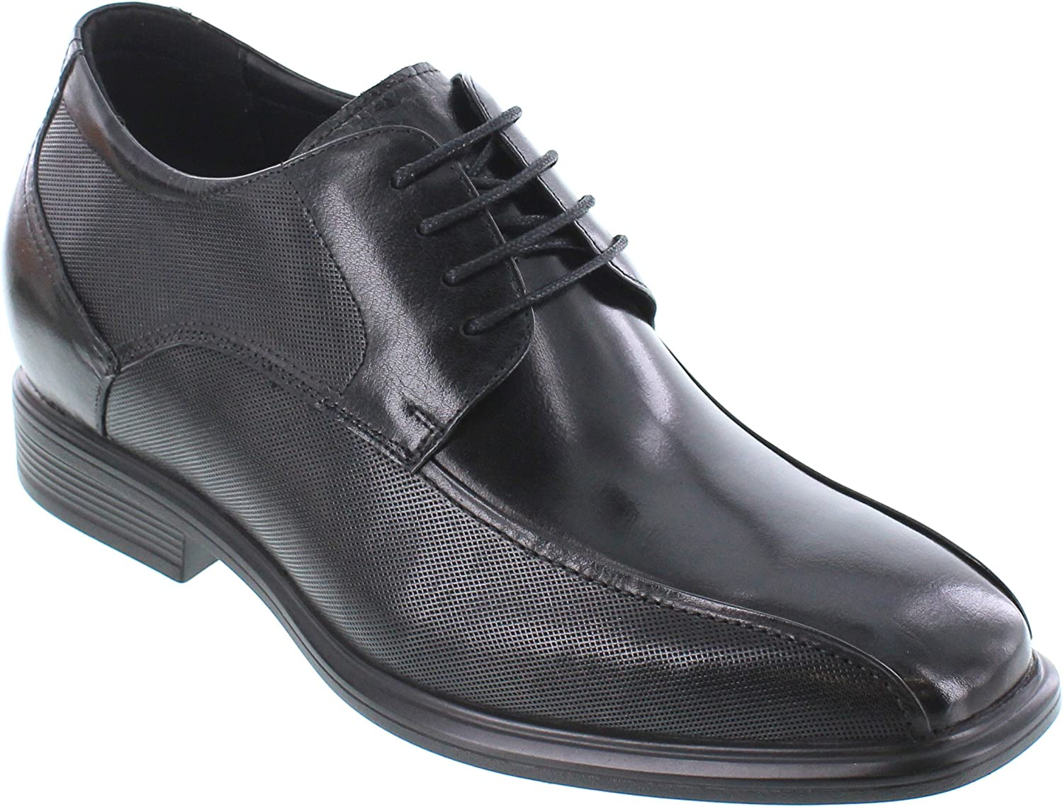 CALTO Men's Invisible Height Increasing Elevator shoes - Black Premium Leather Lace-up Lightweight Formal Derby Oxfords - 3 Inches Taller - Y3102