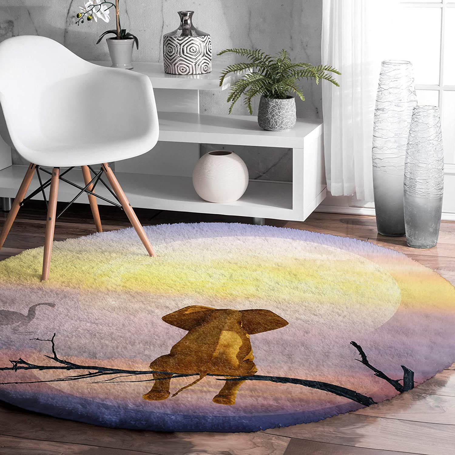 Jacksonville Mall Round Latest item Rug for Bedroom Lonely Elephant Branches Sitting the Wa on