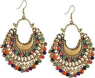Zephyrr Turkish Style Hook Chandbalis Afghani Dangle and Drop Earrings for Women