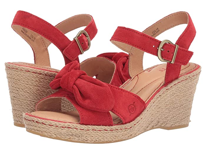 Vintage Shoes, Vintage Style Shoes Born Monticello Red Suede Womens Wedge Shoes $66.50 AT vintagedancer.com