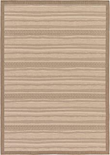 Unique Loom Outdoor Border Collection Striped Moroccan Transitional Indoor and Outdoor Flatweave Beige Area Rug (7' 0 x 10' 0)