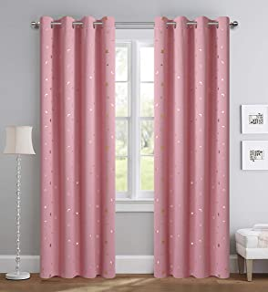Girl Curtains for Bedroom Pink with Gold Stars Blackout Window Drapes for Nursery Heavy and Soft Energy Efficient Grommet Top 52 Inch Wide by 84 Inch Long Set of 2