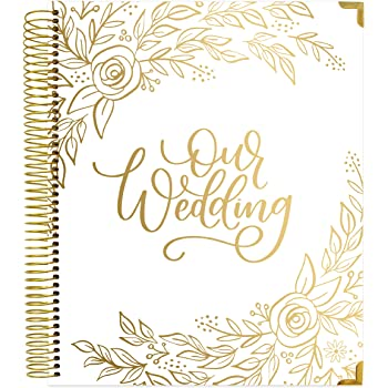 "bloom daily planners Hard Cover Wedding Day Planner & Organizer (Undated) - 9"" x 11"" - Gold Floral"