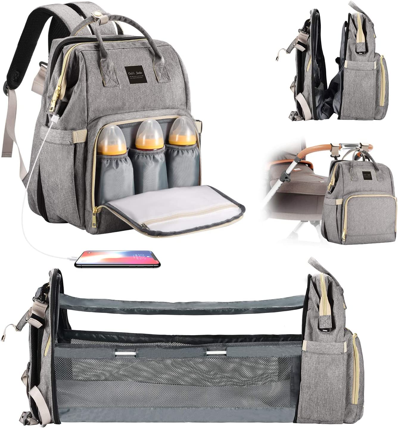 Cali Jade Diaper Bag Backpack with Changing Station Multifunctional Waterproof Large Capacity Travel Backpack, Foldable Baby Bed, USB Charging Port, Insulated Pockets, Mother Bag, Gray