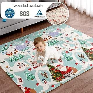 "Baby Play Mat Foam Floor Pad with Reversible Christmas Print, 71"" x 79"" x0.6"