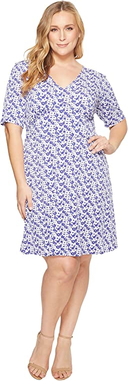 Plus Size Carnations Flare Dress