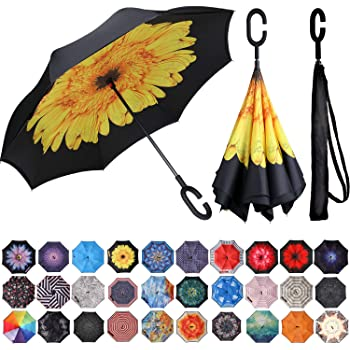 Double Layer Inside Out Folding Umbrella Reverse Inverted Windproof Cat Kitten Orange Black White Umbrella Upside Down Umbrellas with C-Shaped Handle for Women and Men