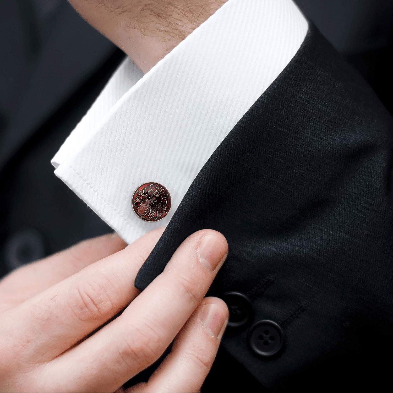 Rosec Jewels Art Deco Maroon Rawmarch Crest Cufflinks, Engraved Bullet Back Wedding Cufflinks for Him, Vintage Gold Plated Enamelled Swank Cuff Link, Tie Clip Gift