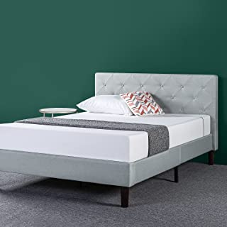 Zinus Shalini Upholstered Diamond Stitched Platform Bed / Mattress Foundation / Easy Assembly / Strong Wood Slat Support / Sage Grey, King