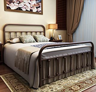 URODECOR Metal Bed Frame Full Size Headboard and Footboard with Mattress Foundation,The Vintage Style Iron Double Bed The Metal Structure,Antique Bronze Brown