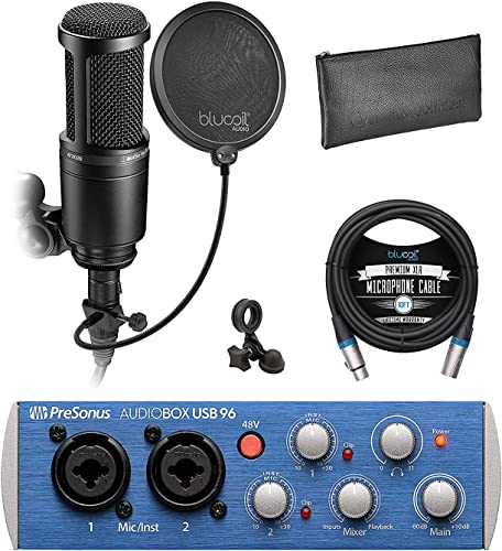 discount Presonus AudioBox USB 96 2x2 USB Audio Interface with Studio One Artist Bundle outlet sale with Audio Technica AT2020 Cardioid Condenser Microphone, online Blucoil 10' XLR Cable, Pop Filter, and 5X Cable Ties outlet sale