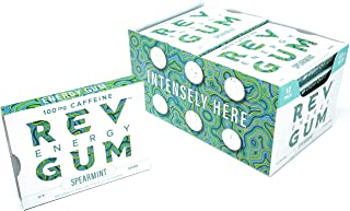 Rev Spearmint Caffeine Energy Gum: Sugar Free Caffeinated Mint Chewing Gum - Long Lasting Low Calorie Chews with Caffeine Equal to a Cup of Coffee to Help You Stay Alert, Awake and Focused - 12 Pack