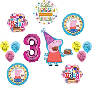 Peppa Pig Pink 3rd Birthday Party Balloon supplies and decorations kit