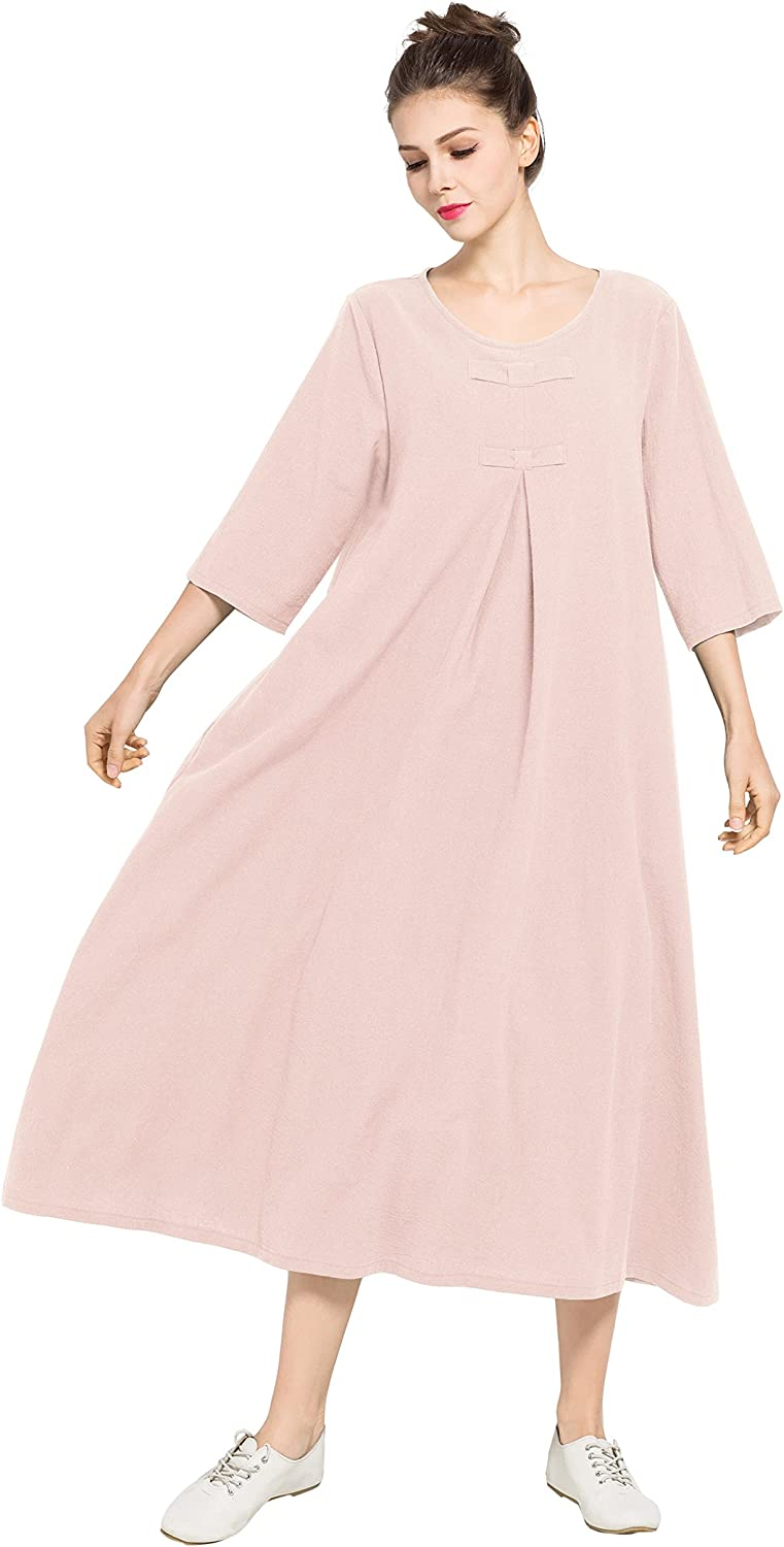 Anysize 3/4 Sleeves Spring Summer Soft Linen Cotton Dress Plus Size Clothing F120A