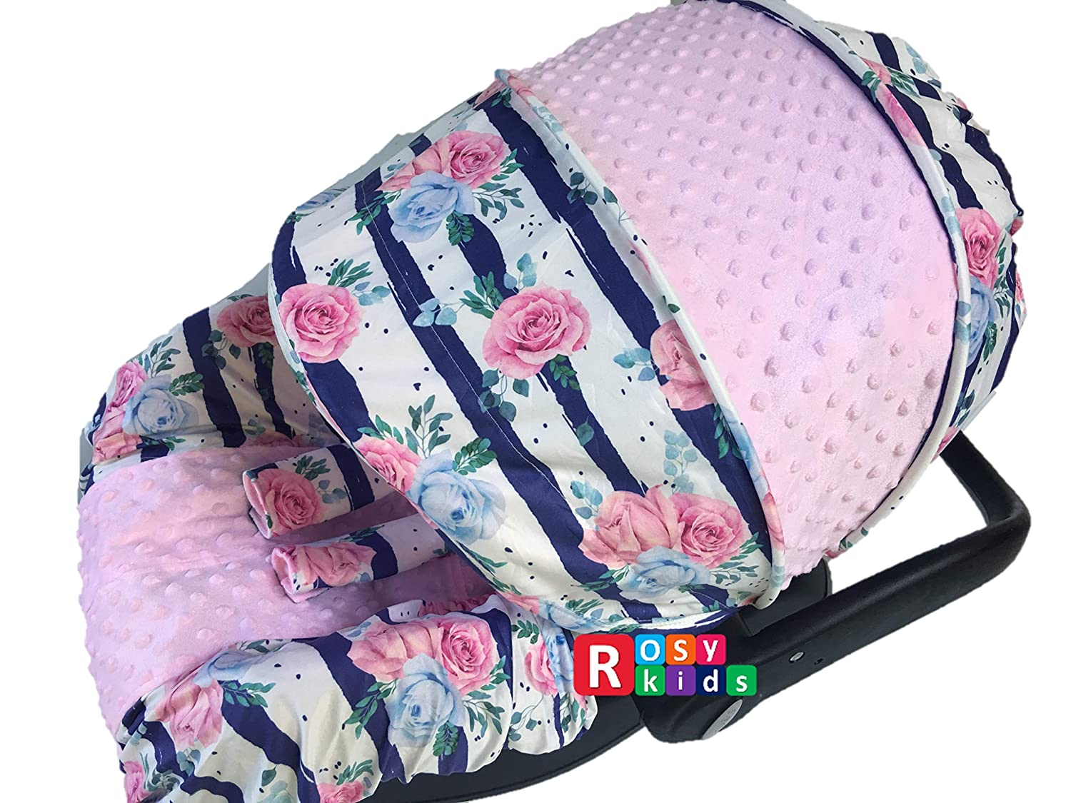 Rosy Kids Infant Carseat New York Mall Cover Canopy Ca 3pc Caboodle Whole Brand new Baby