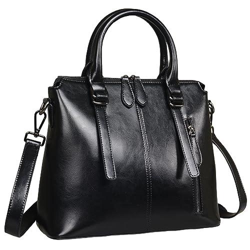 c670986290 Heshe Womens Leather Shoulder Handbags Top Handle Bag Flap Ladies Purse  Satchel Crossbody Bags