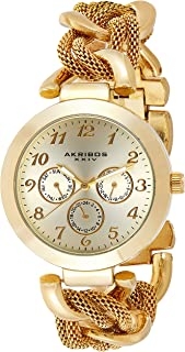 Akribos XXIV Women's Gold Multifunction Watch - Sunburst Dial - Luminous Hands - Twist Chain Bracelet - AK564
