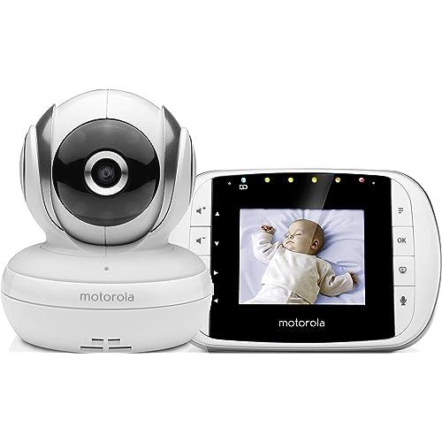 """Motorola Baby MBP 33S - Babyphone vidéo avec écran 2.8"""", éco mode, vision nocturne et capteur de la température ambiante, couleur blanc"""