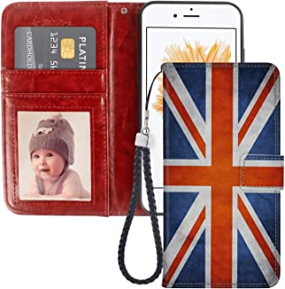 SoLucky iPhone 5C Wallet Case UK Flag PU Leather with Kickstand and Card Slots, Wrist Strap Flip Case for iPhone 5C, 1Pack