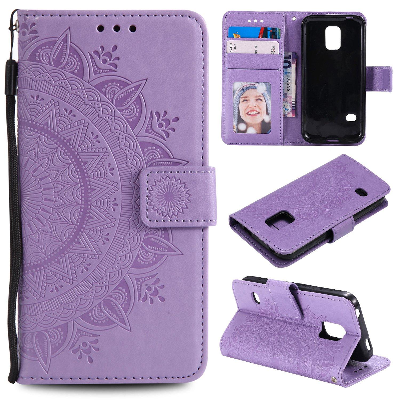 Funda para teléfono móvil para Galaxy S5, funda de piel con tapa [función atril] [tarjetero] [cierre magnético] Funda de piel con tapa para Samsung Galaxy S5/G900F: Amazon.es: Electrónica