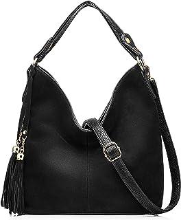 Realer Hobo Bag for Women Tote Leather Purse Crossbody Bag Large (Black)