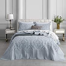 CHIXIN Oversized Bedspread Coverlet Set Grey - Queen Size Lightweight Thin Comforter Bedding Cover - 3 Piece Reversible Qu...