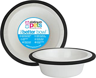 Platinum Pets 4-Cup Stainless Steel Wide Rimmed Bowl, White