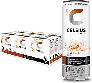 CELSIUS Sparkling Cola Fitness Drink, ZERO Sugar, 12oz. Slim Can 4-Packs, 24 Cans Total