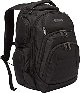 """Kenneth Cole Reaction 1680d Polyester Double Gusset 17.0"""" Laptop Backpack, Black"""