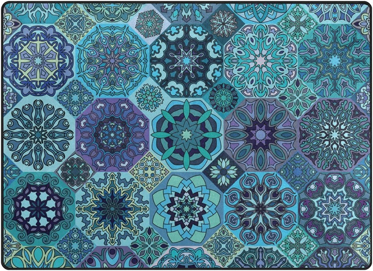 SUABO Area Rug 80 x 58 inches Non-Slip Floor Mat Vintage Floral Printed Doormats for Living Room Bedroom
