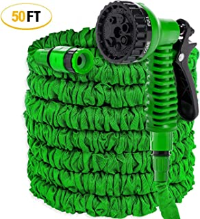 50 ft/15m Garden Hose All New Expandable Water Hose, Flexible Gardening Hose,7 Pattern Spray and High Pressure for Plant Watering, Car and motorcycle cleaning,Lawn Garden (50FT-15M, Green)