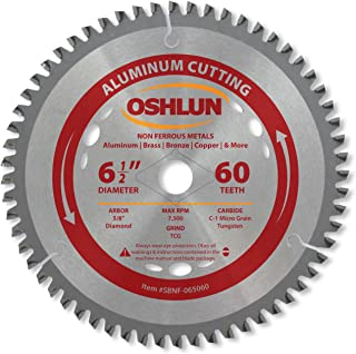 Oshlun SBNF-065060 6-1/2-Inch 60 Tooth TCG Saw Blade with 5/8-Inch Arbor (Diamond Knockout) for Aluminum and Non Ferrous Metals