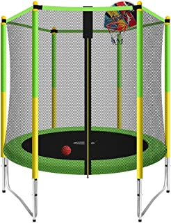 Genki 60 Inch Kids Round Trampoline with Safety Enclosure & Basketball Hoop Outdoor Jumping Toy Gift