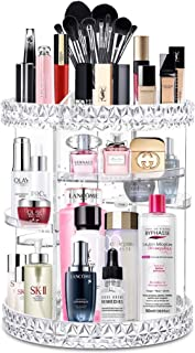 GenePath Makeup Organizer 360 Degree Rotating Adjustable Crystal Clear Transparent Cosmetic Storage Display Box Fits for Lots of Cosmetics and Accessories (Rotate)