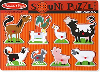Melissa & Doug Farm Animals Sound Puzzle (Wooden Peg Puzzle With Sound Effects, 8 Pieces, Great Gift for Girls and Boys – Best for 2, 3, and 4 Year Olds)